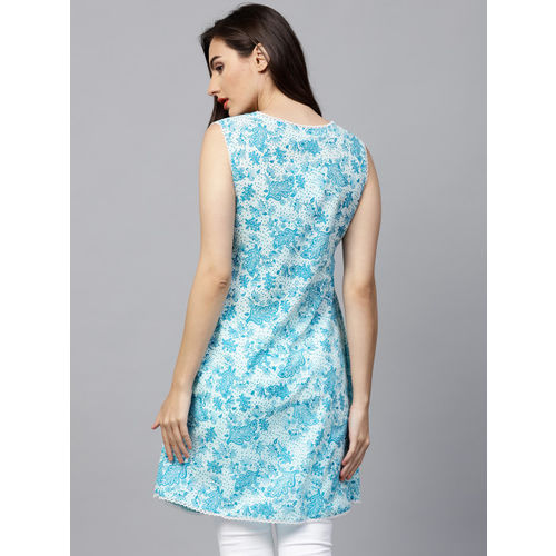 Nayo Blue & White Cotton Sleeveless Printed Tunic