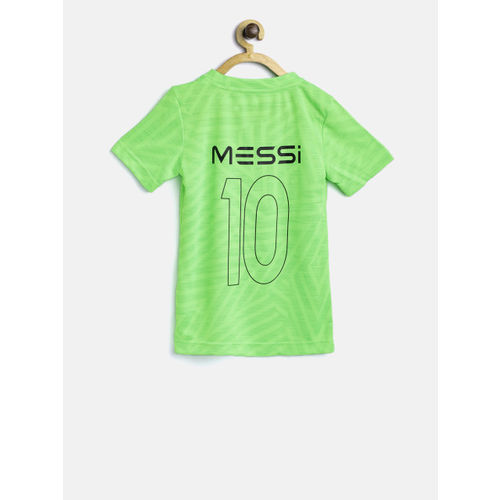 0700a5c4bece ... Adidas Boys Fluorescent Green YB Messi Icon Jersey Patterned Football  T-shirt ...