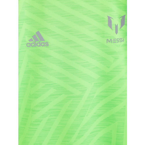 85855d310ade Adidas Boys Fluorescent Green YB Messi Icon Jersey Patterned Football  T-shirt ...