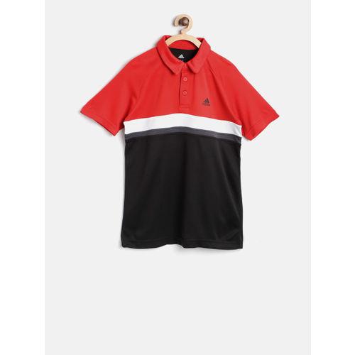 Buy Adidas Boys Red   Black Club Colourblocked Tennis Polo T-shirt ... 45e4e42ba355