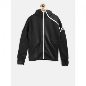 Adidas Boys Black Solid YB ZNE HD 3.0 Hooded Sweatshirt
