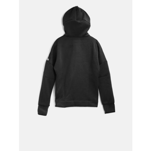 Adidas Boys Black Solid YB ZNE HD 3.0 Hooded Sweatshirt