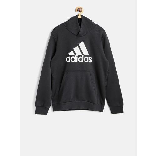 Buy Adidas Boys Black YB Logo Hooded Training Sweatshirt