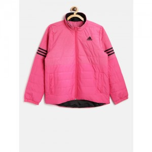 Adidas Boys Pink NE PAD Solid Lightweight Padded Jacket