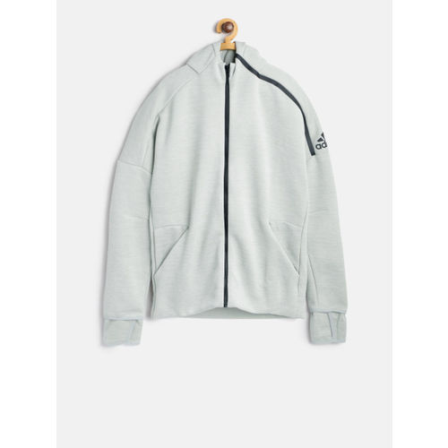 Adidas Boys Grey Melange YB ZNE 3.0 Hooded Track Jacket