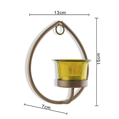 Homesake Set of 2 Decorative Golden Drop Wall Sconce/Candle Holder with Yellow Glass and Free T-Light Candles