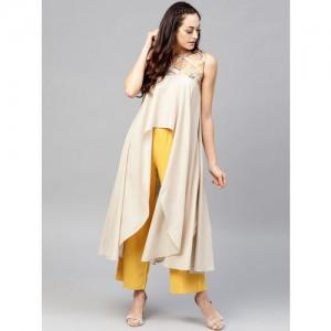 Nayo Beige Cotton Solid Longline Tunic