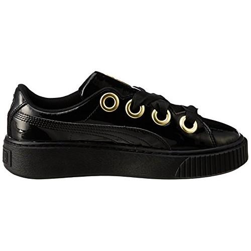 Puma Black Leather Platform Kiss Patent Sneakers