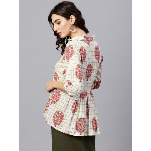 Nayo Women Off-White & Pink Checked Empire Top