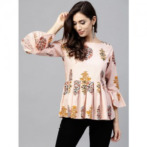 d04431660898c2 Nayo Women Peach-Coloured   Mustard Yellow Printed A-Line Top