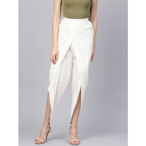 Nayo Women White Regular Fit Solid Dhoti Pants
