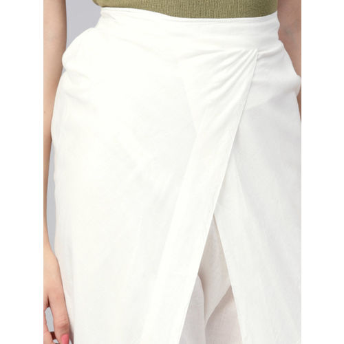 Nayo Women White Regular Fit Solid Dhoti Pants