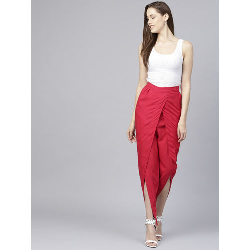 Nayo Women Red Regular Fit Solid Dhoti Pants