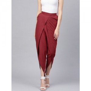 Nayo Women Maroon Regular Fit Solid Dhoti Pants