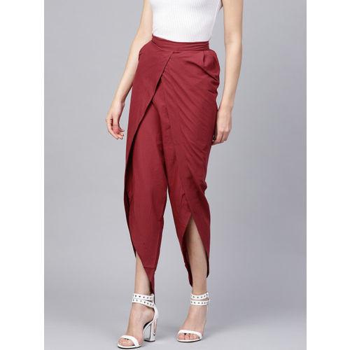 Nayo Women Maroon Regular Fit Solid Dhoti Pants