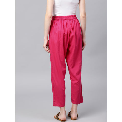 Nayo Women Pink Regular Fit Solid Cropped Regular Trousers