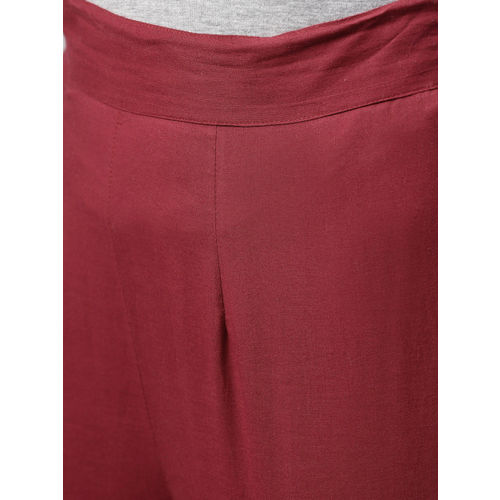 Nayo Women Maroon Regular Fit Solid Cropped Regular Trousers