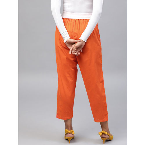Nayo Women Orange Regular Fit Solid Cropped Trousers