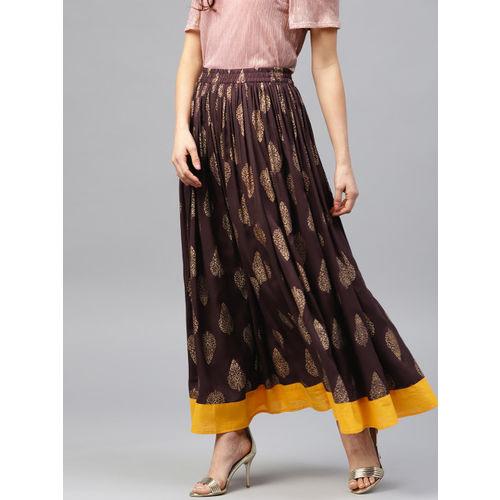 7c2afe763 ... Nayo Women Coffee Brown & Golden Printed Maxi Flared Skirt ...