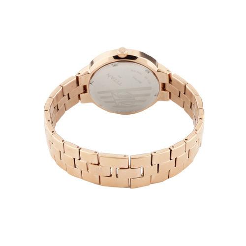 Titan Women Rose Gold-Toned Dial Watch 9967WM01J