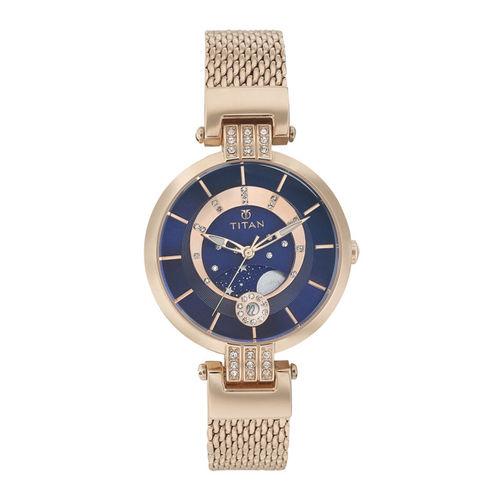Titan Rose Gold-Toned Dial Watch 95014WM01J