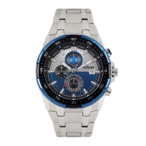 Titan Octane Men Blue & Silver-Toned Dial Chronograph Watch 90044KM03