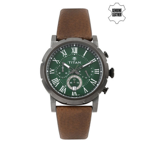Titan Men Green Dial Watch 90050QL01J