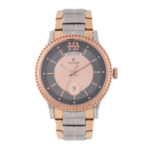 Titan Men Charcoal & Rose Gold Analogue Watch 1751KM01