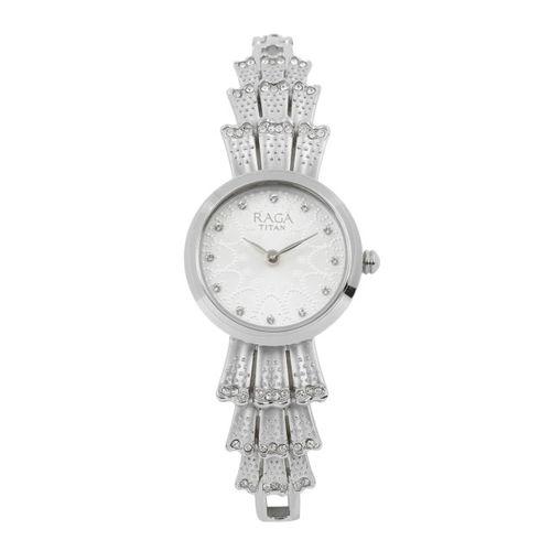Titan Raga Aurora Women Silver-Toned Swarovski Analogue Watch 95044SM01J