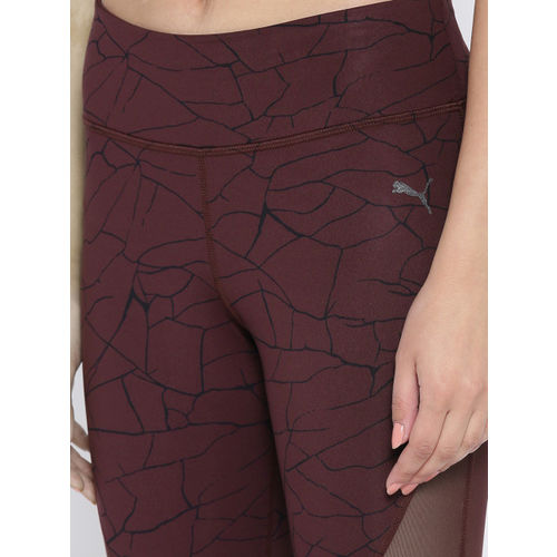 Puma Women Burgundy & Black Printed Explosive 7/8 Graphic Tights