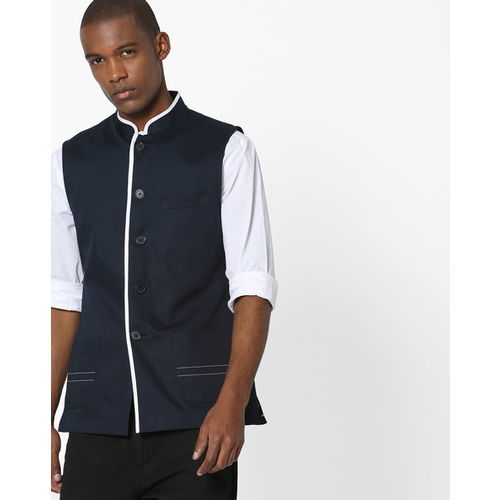 MR.BUTTON Slim Fit Nehru Jacket with Contrast Piping
