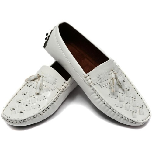 Ziesha White Loe Ankle Slip-on Loafers For Men