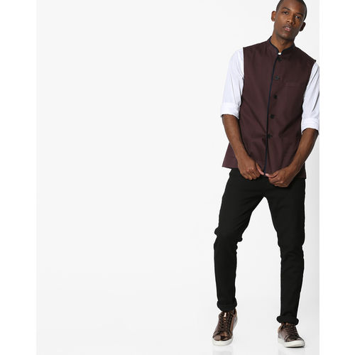 MR.BUTTON Slim Nehru Jacket with Contrast Piping