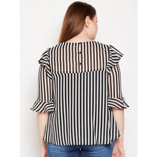 Oxolloxo Women Black Striped A-Line Top
