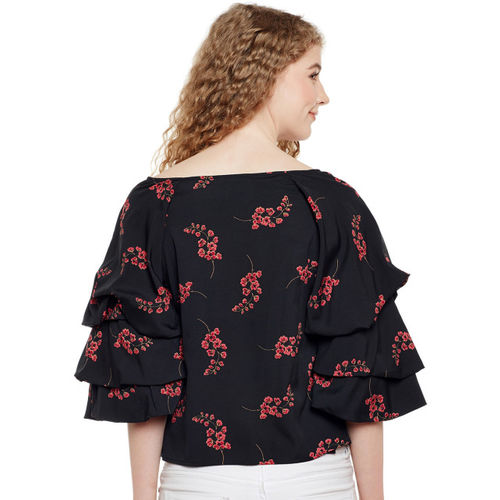 Oxolloxo Women Black Printed A-Line Top