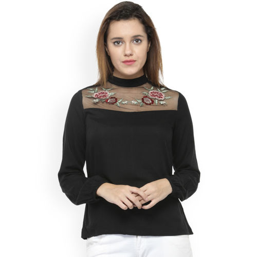 Oxolloxo Women Black Printed Top