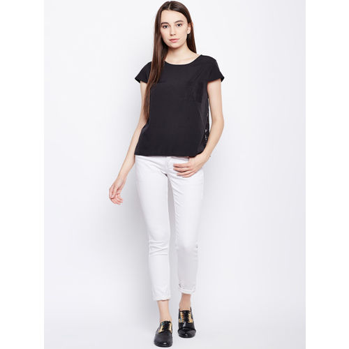 Oxolloxo Women Black Solid Boxy Top