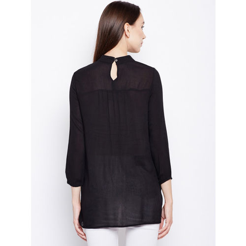 Oxolloxo Women Black Solid A-Line Top