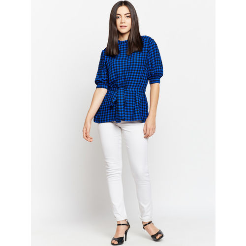 Oxolloxo Women Blue Cinched Waist Top