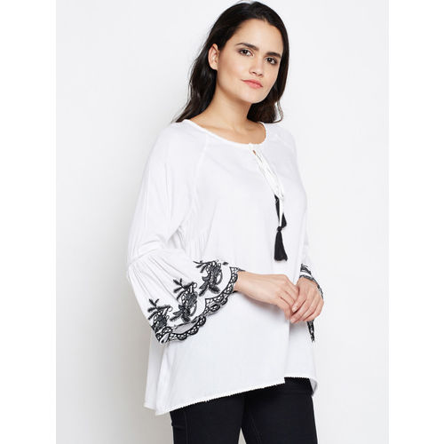 Oxolloxo Women White Solid A-Line Top