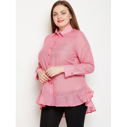 Oxolloxo Pink Cotton  Regular Fit Striped Casual Shirt