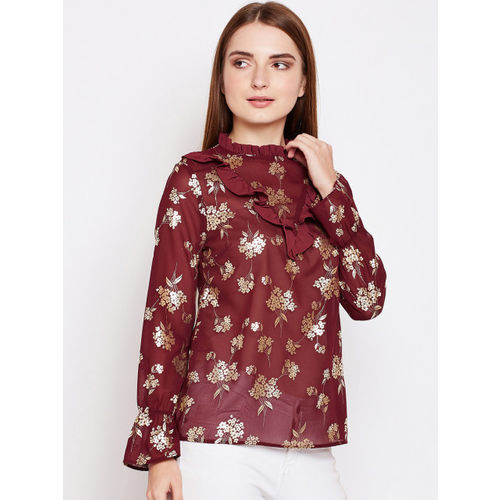 Oxolloxo Women Maroon and Gold-Toned Printed Cinched Waist Top