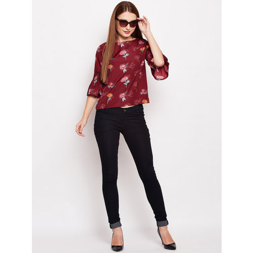 Oxolloxo Women Maroon Printed Top