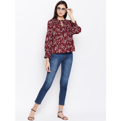 Oxolloxo Women Maroon Printed A-Line Top