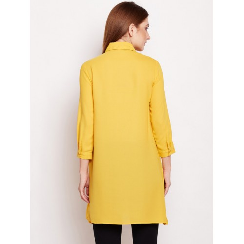 Oxolloxo Yellow  Rayon Regular Fit Solid Casual Shirt