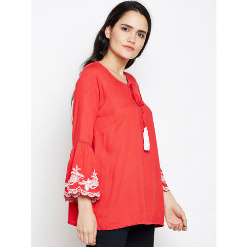 Oxolloxo Women Red Embellished A-Line Top