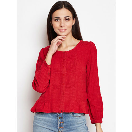 Oxolloxo Women Red Solid A-Line Top