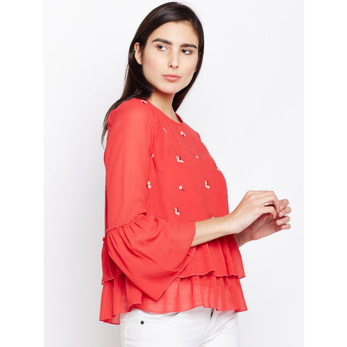 Oxolloxo Women Red Printed A-Line Top