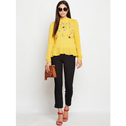 Oxolloxo Women Yellow Embroidered A-Line Top