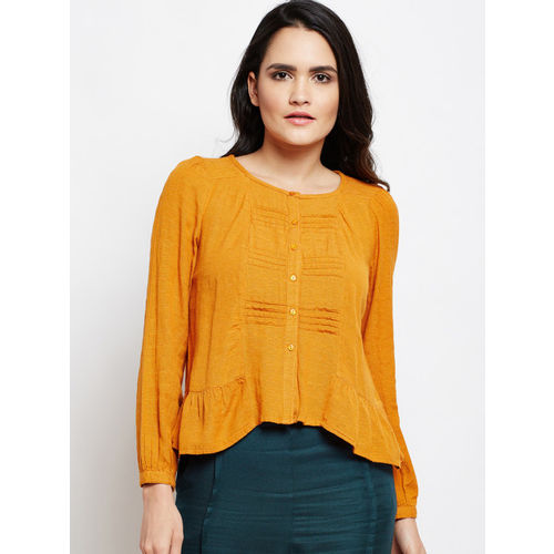 Oxolloxo Yellow Textured A-Line Top